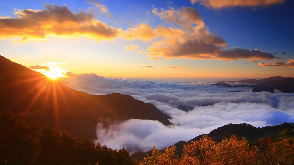 Sunrise Mountains Mountain Clouds Sky Pictures For Desktop